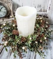 Pumpkin Flower & Cream Berry Fall Pillar Candle Ring