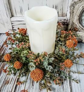 Pumpkin Flower Fall Pillar Candle Ring