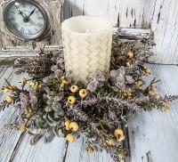 Autumn Gold Berry Pillar Candle Ring