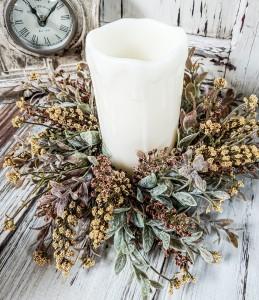 Rustic Pumpkin & Gold Floral & Fall Greenery Pillar Candle Ring