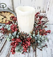 Red Berry & Pumpkin Astilbe Autumn Eucalyptus Fall Pillar Candle Ring