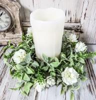 Cream Irish Hops Floral & Greenery Pillar Candle Ring
