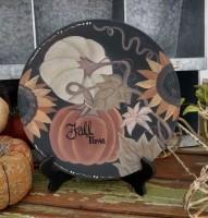 Rustic Farmhouse Autumn Leaf & White Pumpkin Home Decor Plate