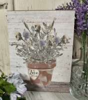 Love Grows Muted Flower Pot Box Sign - Cottage Farmhouse Home Decor