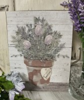Happy Forever Muted Flower Pot Box Sign
