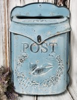Rustic Blue Decorative Post Box - Vintage Farmhouse Style