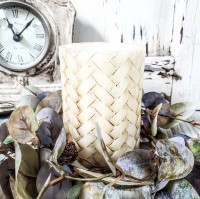 """Basketweave 4"""" Battery Operated Farmhouse Timer Pillar Candle"""