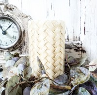 Rustic Basketweave Flameless Timer Pillar Candle