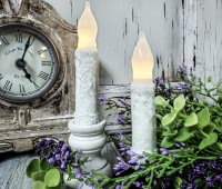 """Rustic White 4"""" Flameless Timer Taper Candles"""
