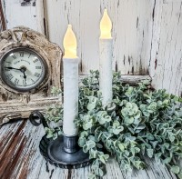 """Rustic White 6"""" Flameless Timer Taper Candles"""