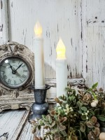 Ivory Flameless Timer Taper Candles Set of 2