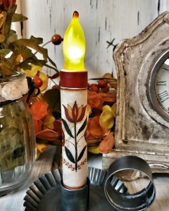 Red Folk Flower Flameless Timer Taper Candle