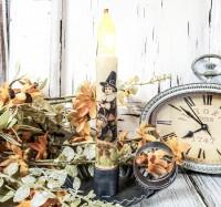Vintage Inspired Boy Pilgrim Timer Taper Candle