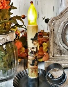 Vintage Thanksgiving Inspired Pilgrim Timer Taper Candle