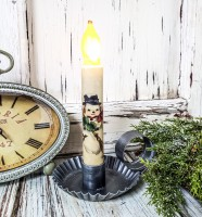 Vintage Style Winter Snowman Handmade Timer Taper Candle
