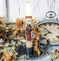 Vintage Inspired Little Witch & Black Cat Timer Taper Candle