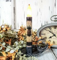 Rustic Pineapple Flameless Timer Taper Candle
