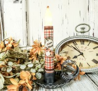 Autumn Blessings Plaid Fall Timer Taper Candle