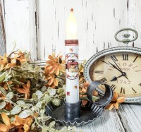 Vintage Inspired Red Truck & Pumpkin Autumn Fall Timer Taper Candle