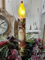 Rustic Woodland Santa Face Christmas Flameless Timer Taper Candle