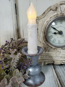 Alette Pewter Rustic Taper Candle Holder