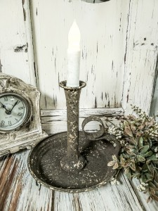 Forge Gleam Large Chamberstick Taper Candle Holder