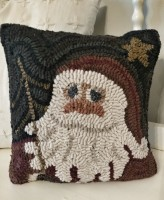 Primitive Santa Hooked Wool Christmas Home Decor Accent Pillow