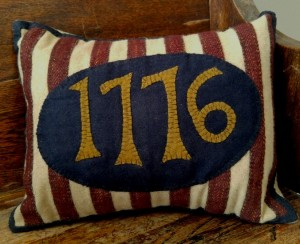 Primitive Patriotic Wool 1776 Home Decor Pillow
