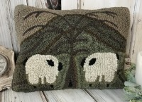 Sheep in Meadow Hooked Wool Rustic Farmhouse Pillow