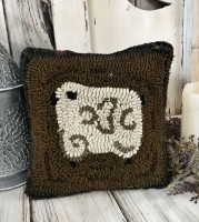 Rustic Hooked Wool Sheep Accent Pillow