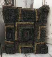 Primitive Squares Hooked Wool Home Decor Accent Pillow