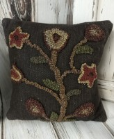 Primitive Hooked Wool Brown Floral Stargazer Pillow