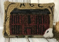 Rustic Hooked Wool Brick House & Sheep Accent Pillow