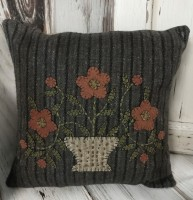 Primitive Flower Pot Wool Applique Pillow