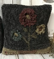 Rustic Hooked Wool Moon Flower Accent Pillow