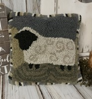 Rustic Farmhouse Hooked Wool Sheep Accent Pillow