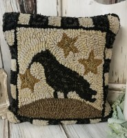 Primitive Crow & Star Hooked Wool Pillow