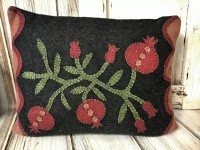 Wool Applique Pomegranate Home Decor Accent Pillow