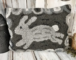 Farmhouse Hooked Wool Bunny Accent Pillow