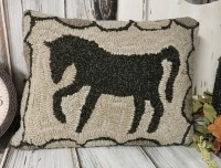 Farmhouse Colonial Horse Hooked Wool Home Decor Pillow