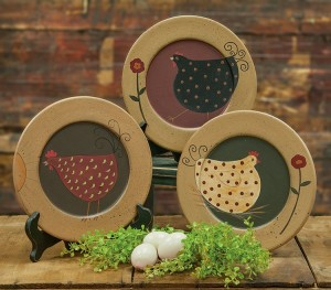 Country Farmhouse Chicken Wooden Home Decor Plate Set