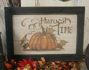 Primitive Rustic Pumpkin Harvest Time Autumn Wooden Sign