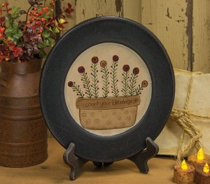 Country Cottage Count Blessings Flowers in Vase Wooden Decorative Plate