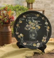 Country Cottage Farmhouse Mason Jar Flower Wooden Home Decor Plate