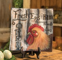 Country Farmhouse Fresh Eggs Rooster Wooden Home Decor Plate