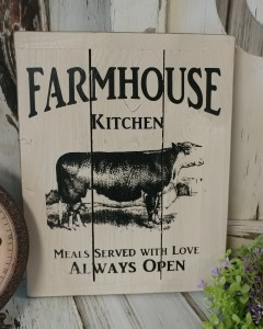 Farmhouse Kitchen Cow Wooden Slat Sign