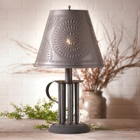 Round Candle Mold Lamp with Chisel Shade - Rustic Farmhouse Home Lighting