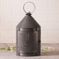 """15"""" Fireside Punched Tin Electric Lantern - Rustic Farmhouse Accent Light"""