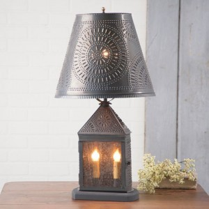Harbor Table Lamp with Chisel Shade - Rustic Primitive Farmhouse Home Lighting