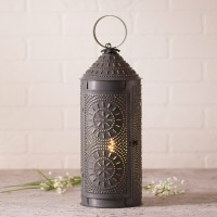 """18"""" Punched Tin Chimney Lantern - Rustic Farmhouse Accent Light"""